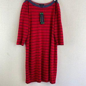TOMMY HILFIGER Boatneck Striped Dress NWT